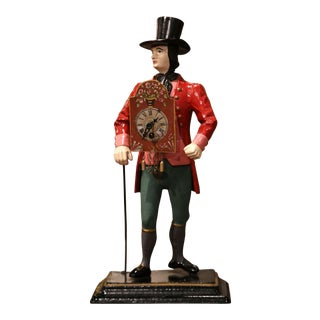 19th Century French Painted Metal Salesman Figurine Clock For Sale