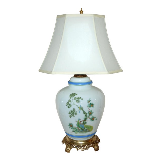 Vintage Asian Style Green Blue Peacock Ginger Jar Table Lamp For Sale