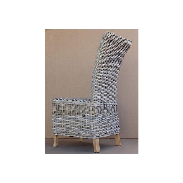 Rattan Wicker High Back Dining Chairs - Set of 6 For Sale In Miami - Image 6 of 11