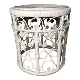 Boho Chic White Victorian Curlee Cue Rattan/Vintage Wicker Side Table For Sale
