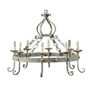 French Vintage Eight-Light Painted Iron Round Chandelier For Sale