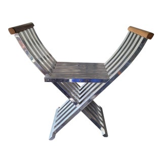 1970's John Vesey Aluminum & Wood Campaign Bench For Sale