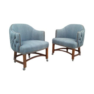 Blue Tufted Club Chairs With Nail Head Trim-A Pair