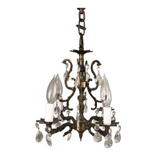 Antique Petite Bronze and Crystal Chandelier For Sale