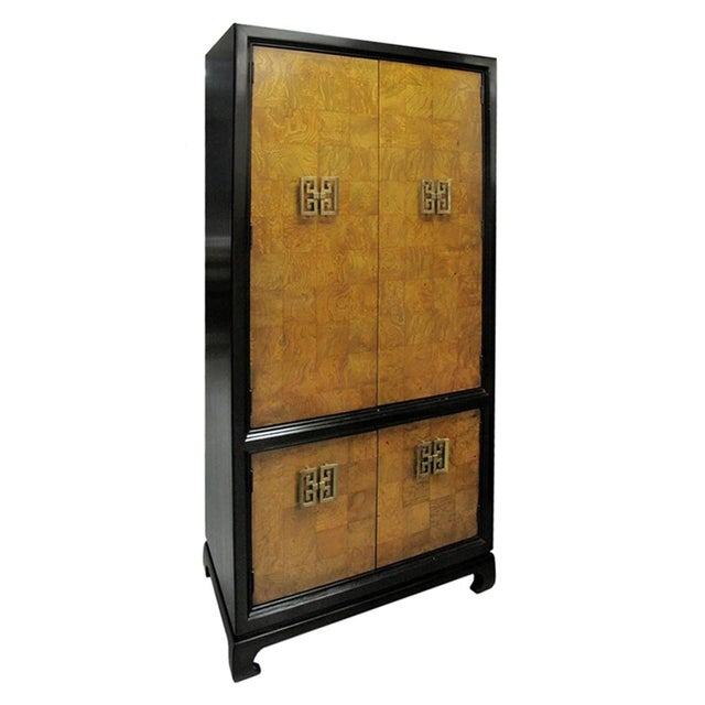 1970s 1970s American Chinoiserie Style Burl Wood Cabinet For Sale - Image 5 of 5