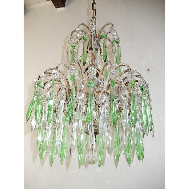 Italian Micro-Beaded Green Crystal Prisms Chandelier For Sale - Image 10 of 10