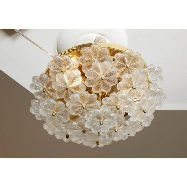 Gold Vintage Daisy Floral Glass Flush Mount For Sale - Image 8 of 10