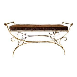 Vintage French Hollywood Regency Style Wrought Iron & Brass Curule Bench For Sale
