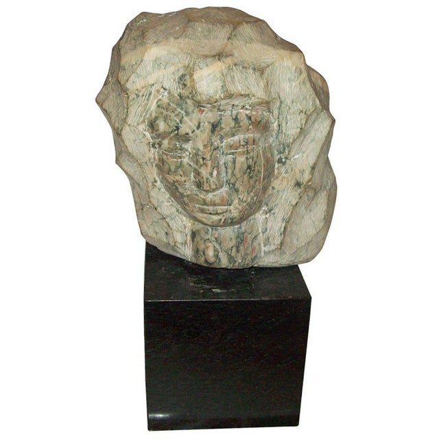 Modernist Marble Sculpture on Granite Base For Sale In New York - Image 6 of 6