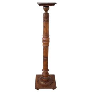 19th Century Italian Antique Column in Turned Walnut For Sale