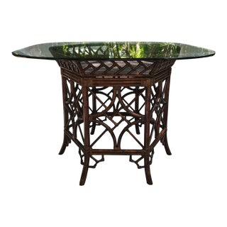 Bamboo Octagon Chippendale Table With Glass Top