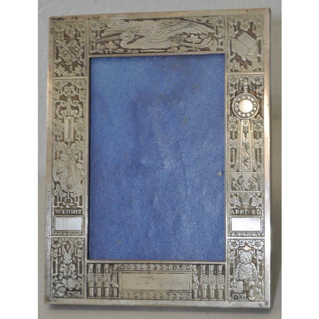 Children's Sterling Silver New Born Baby Picture Frame c.1920s For Sale - Image 3 of 7