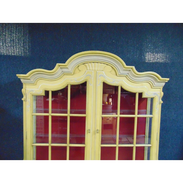 Drexel Drexel French Style Paint Decorated China Cabinet For Sale - Image 4 of 10