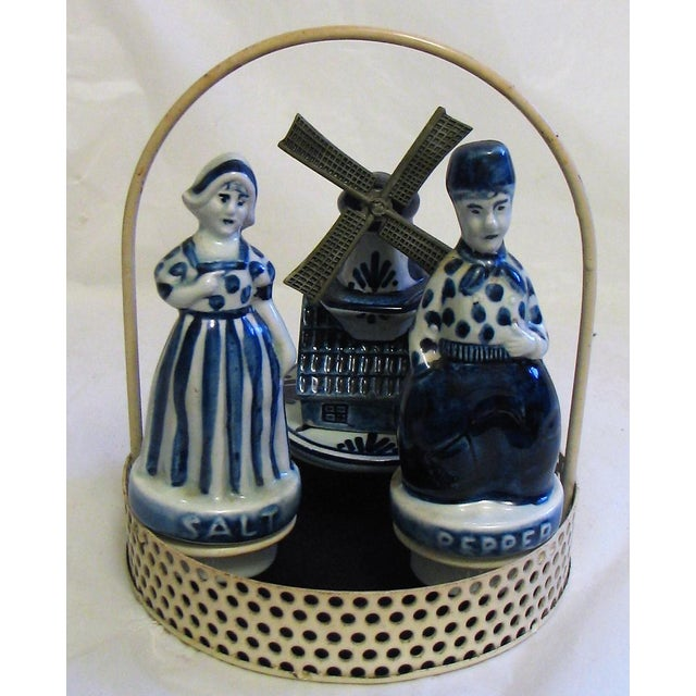 Blue Delftware Salt and Pepper With Decoriative Windwill and Tray - Set of 4 For Sale - Image 12 of 12