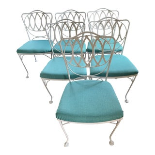 Woodard Quality Iron Patio Dining Chairs With Turquoise Upholstered Seats - Set of 6 For Sale