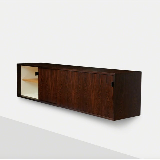 White Florence Knoll Floating Rosewood Credenza For Sale - Image 8 of 8