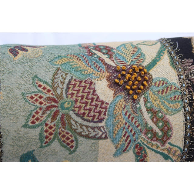 Contemporary Multicolored Floral Tapestry Bolster With Tassles and Cords For Sale - Image 12 of 13