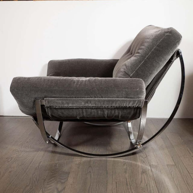 Midcentury Button Tufted Chair & Ottoman in Chrome & Graphite Mohair by Stendig - a Pair For Sale - Image 12 of 13