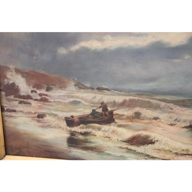 French 20th Century French Oil Painting on Canvas Signed Marine Subject With People For Sale - Image 3 of 10