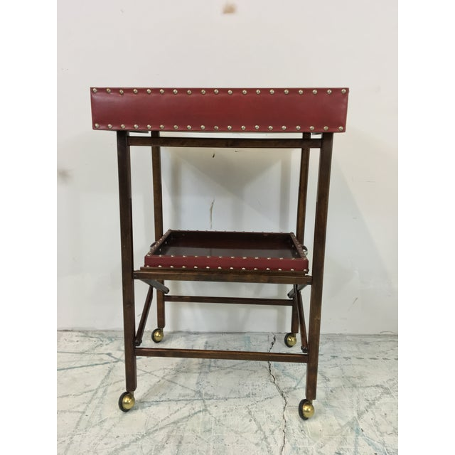 1950s Vintage Leather 2 Tray Bar Cart - Image 3 of 5