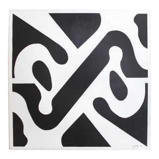 Modern Abstract Painting 1974 40x40 - Graphic Op Art