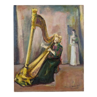 1951 Vintage Marcel Cramoysan Harpist Mildred Dilling Oil on Board Portrait Painting For Sale