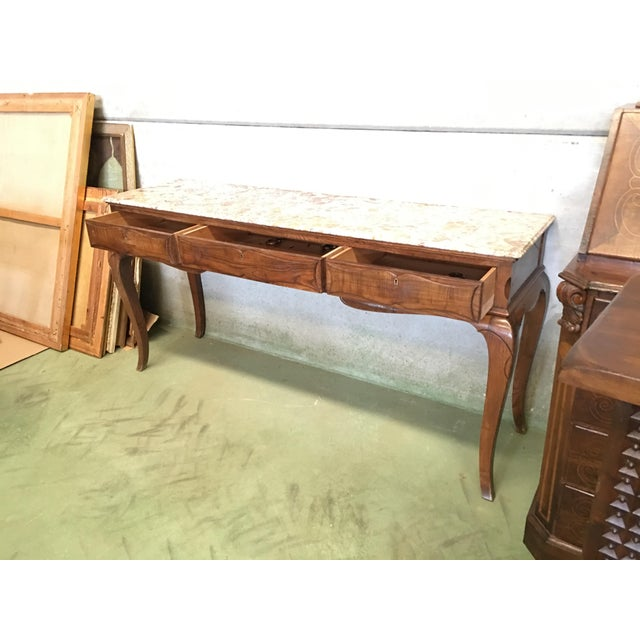 Late 19th Century 19th French Three Drawers Console Table With Top Marble For Sale - Image 5 of 11