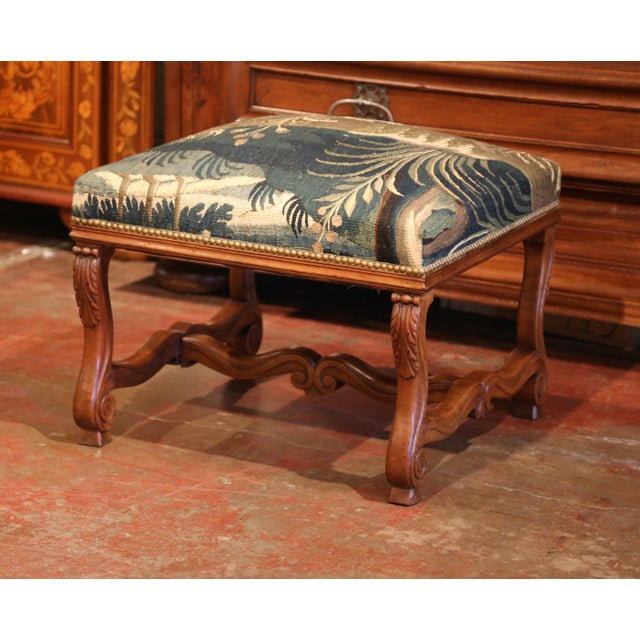 19th Century French Louis XIII Carved Walnut Stool and Verdure Aubusson Tapestry For Sale In Dallas - Image 6 of 11