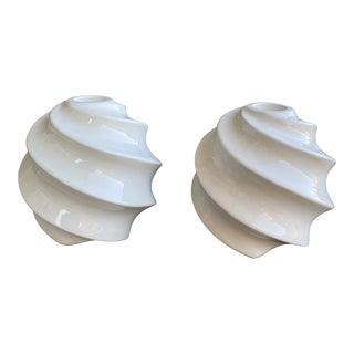Vintage 1980's Ceramic Swirl Globe Candle Holders - a Pair For Sale
