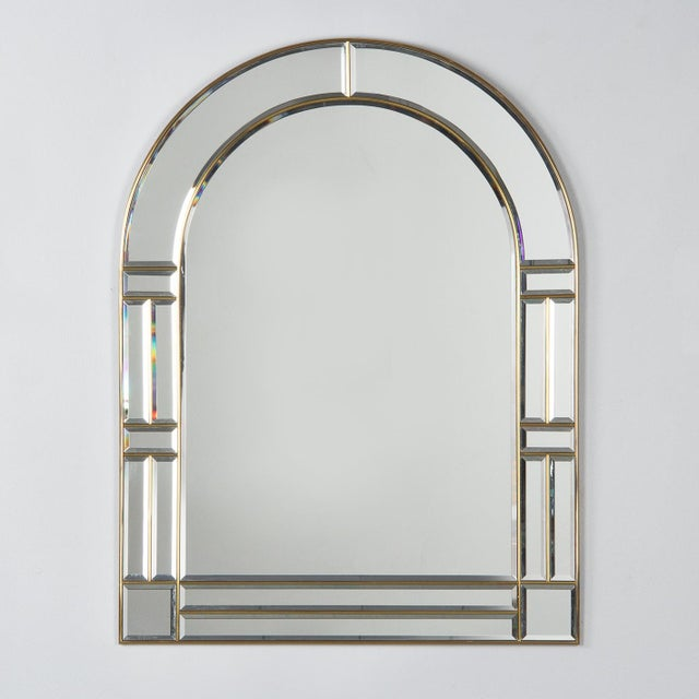 1970s Italian Beveled Glass Mirror With Brass Frame For Sale - Image 13 of 13
