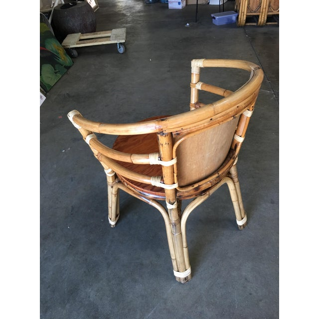 Boho Chic Mid-Century Rattan Barrel Back Armchair W/ Skeleton Arms For Sale - Image 3 of 8