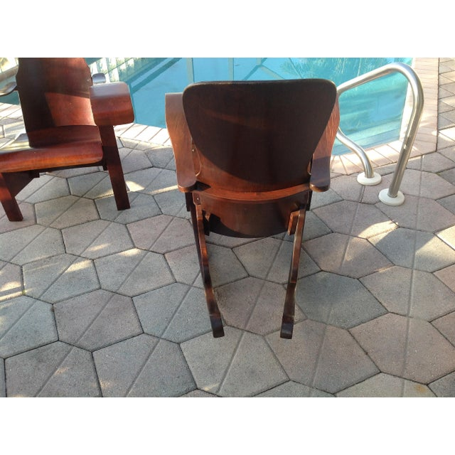 Wood Móveis Cimo Brazil Wood Arm Chairs- A Pair For Sale - Image 7 of 9