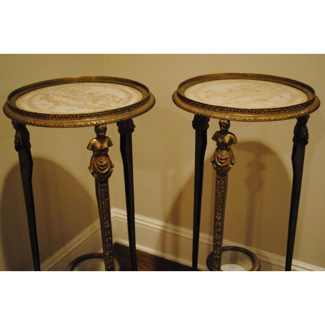 Antique Brass Pedestals - Pair - Image 3 of 9