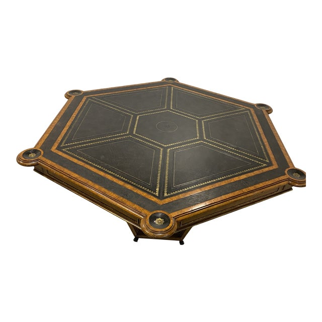 Maitland-Smith Embossed Leather Game Table For Sale