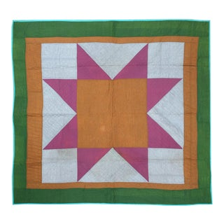 Handmade Pink & Orange Geometric Quilt For Sale