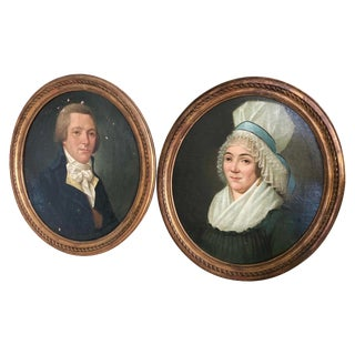 Pair of 18th Century Portraits, French For Sale