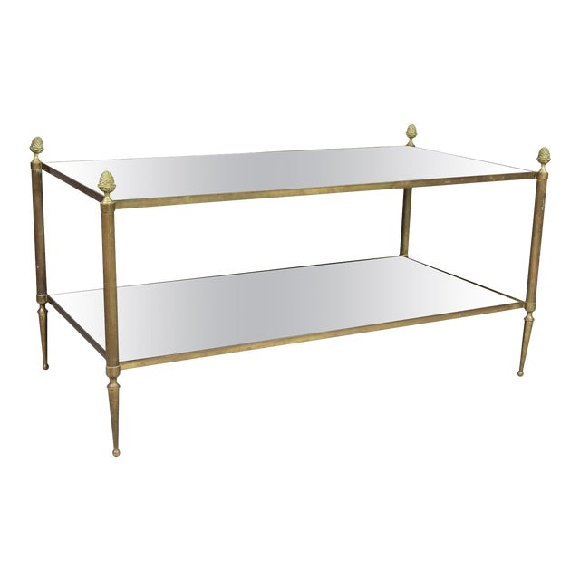 Jansen Style Brass and Mirrored Coffee Table For Sale