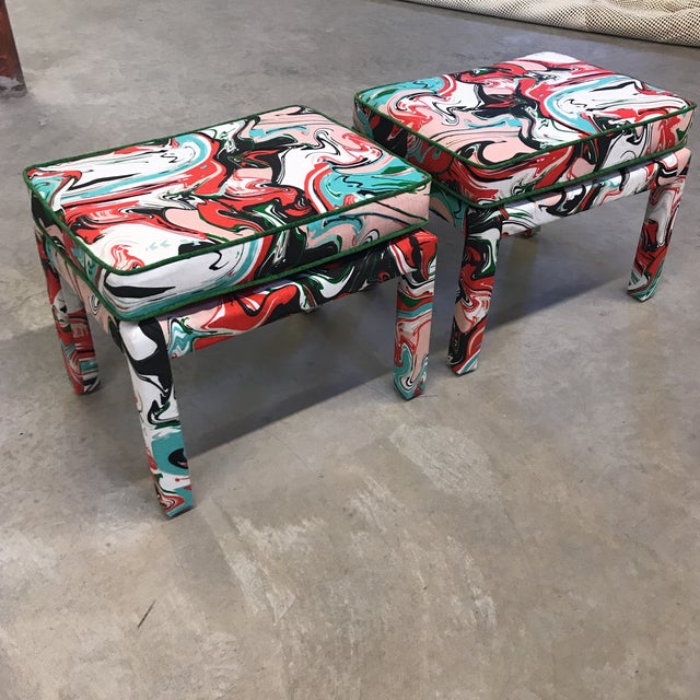 Mid-Century Modern Kate Spade Marble Swirl Linen Fabric Covered Benches - a Pair For Sale - Image 3 of 10