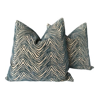 "Lee Jofa ""awash"" in Raised Teal Velvet Down Filled Pillows - a Pair, 21"" For Sale"