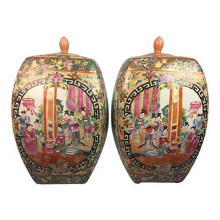 Vintage Chinese Chinoiserie Jars - a Pair For Sale