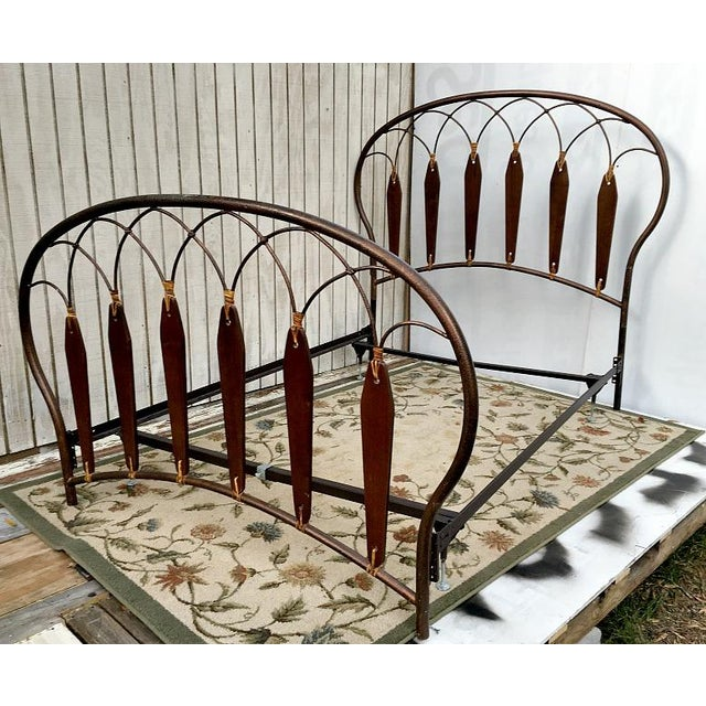 Native American Inspired Metal Wood Leather Full Bed - Image 2 of 10
