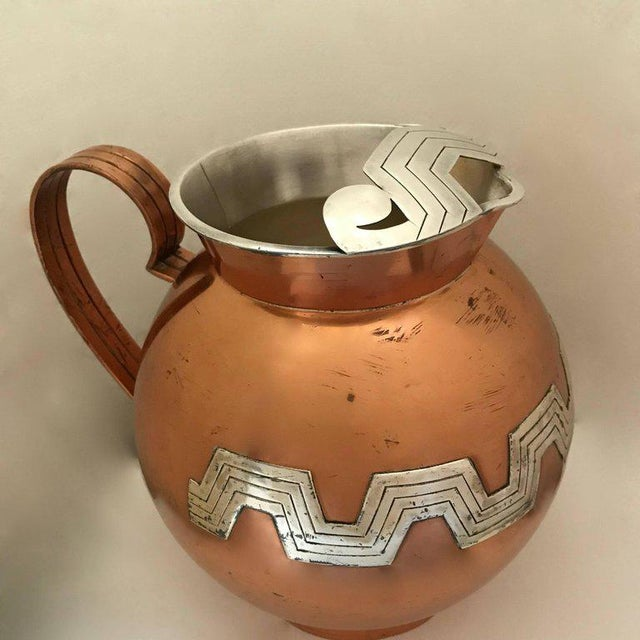 1960s 1960s Mexican Modernist Taxco Victoria Copper and Sterling Water Pitcher For Sale - Image 5 of 9