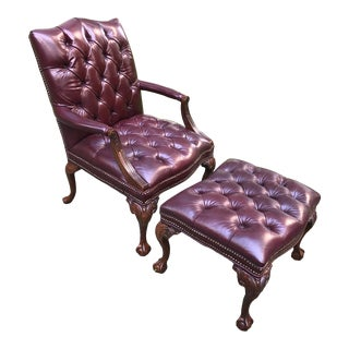 Chippendale Style Tufted Leather Armchair and Ottoman For Sale