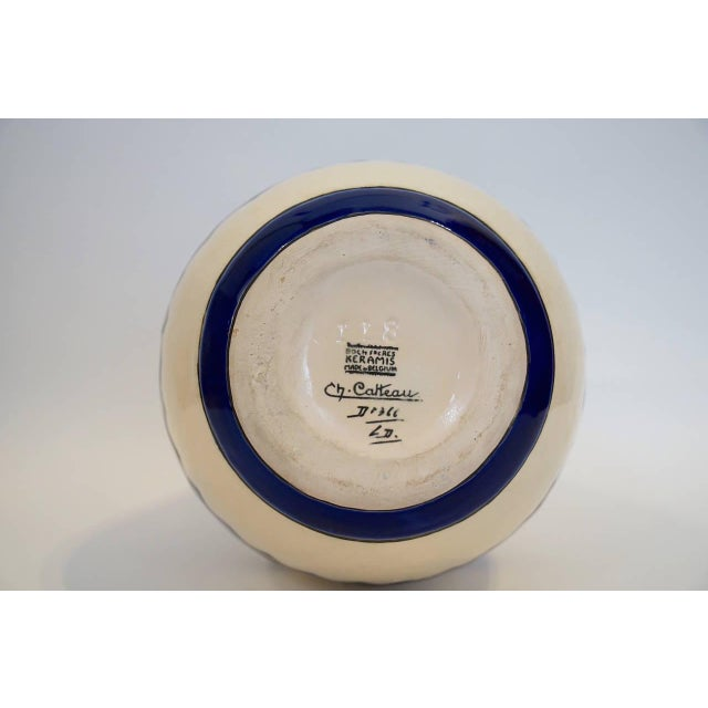 Blue Rare Cobalt and Cream Charles Catteau Vase For Sale - Image 8 of 8