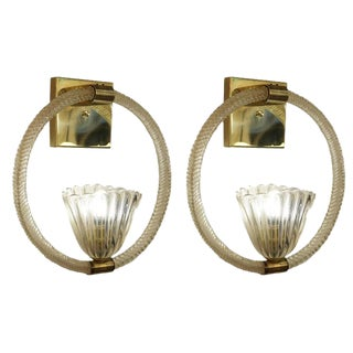 Pair of Large Barovier e Toso Sconces, Italy, 1950s For Sale