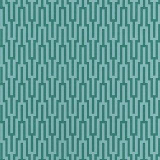 Sample - Schumacher Metropolitan Fret Wallpaper in Turquoise For Sale