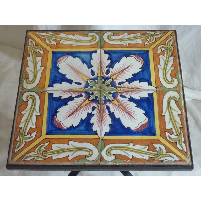 Hand Painted Tile Side Table - Image 4 of 4