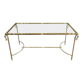 French Brass Coffee Table Attributed to Maison Bagués