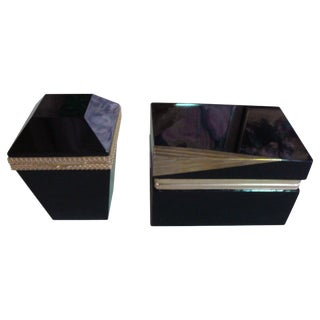 Black Opaline Boxes - a Pair For Sale