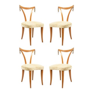 Art Modern Carved Fruitwood Side Chairs - Set of 4 For Sale
